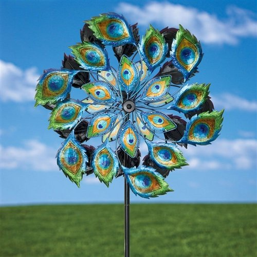 Peacock Solar Multi-Color Wind Spinner Outdoor Lawn Garden Decor by Unknown (Image #2)