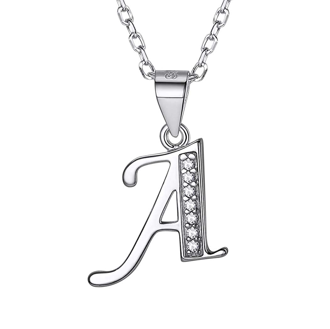 Initial Charm Necklace Cubic Zirconia Inlaid 925 Sterling Silver Chain Alphabet Letter Pendant Name Necklace SILVERCUTE Jewelry SCP6396B