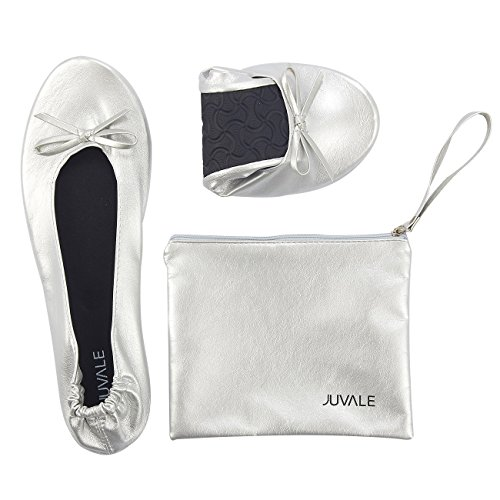 Flight Women Shoes (Foldable Ballet Flats - Large, US 8.5-9.5 Women's Portable Ballerina Roll up Shoes With Matching Carrying Pouch For Travel, Silver)