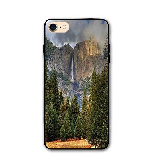 Haixia iPhone 7/8 Phone Shell 4.7 Inch Yosemite Falls Evergreen Forest Fall Season Scenery Yosemite National Park Print Green Grey