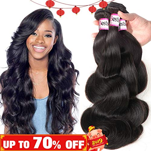 Bestsojoy Brazilian Virgin Hair Body Wave 3 Bundles Remy Human Hair Weaves 100% Unprocessed Hair...