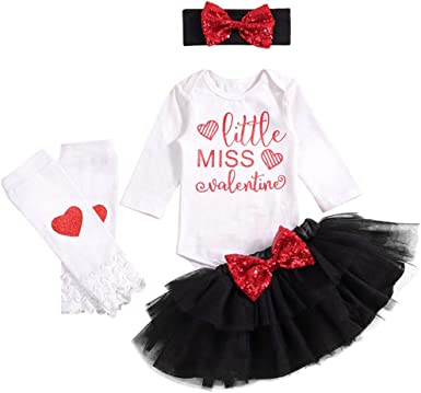 My First Valentines Day Newborn Baby Girls Outfits Long Sleeve Romper Onesie Top Tutu Skirt Headband 3PC Infant Clothes Set