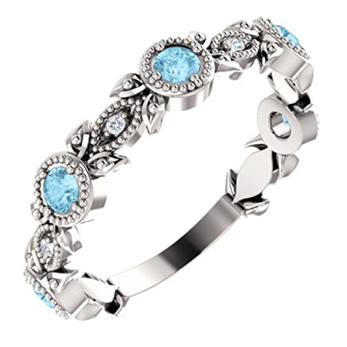 Aquamarine and Diamond Vintage-Style Ring, Sterling Silver, Size 6.75 by The Men's Jewelry Store (for HER)