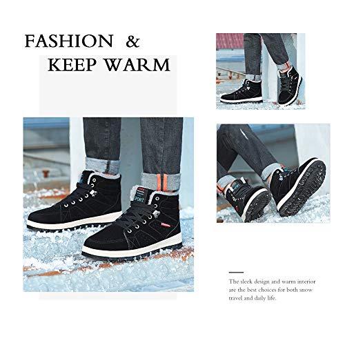 Noir Anti Doubles Womens drapantes Bottes De D'hiver Fourrure Lacets Boots Entirement Neige Warm Randonne Marchant Confortables Leather wS61az