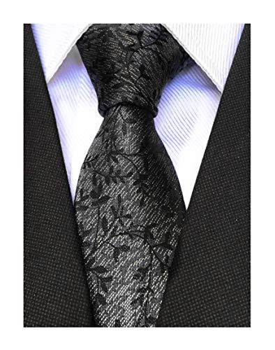 (Men's Dark Grey Black Fancy Tie Silk Floral Luxury Unique Designer Business Cool Self Dress Necktie)