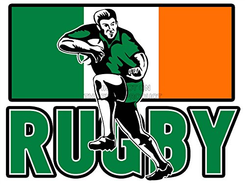 Mp Painting Illustration Sport Ireland Rugby Football Flag Irish Player Art Poster Print Picture