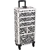 SUNRISE Makeup Rolling Case 4 in 1 Professional Organizer I3364 Aluminum, 3 Stackable Trays and Two 3 Tier Trays, 4 Wheel Spinner, White Zebra