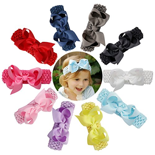 Welandtech Boutique Baby Girls Crochet Headbands and 4 inch Ribbon Hair Bows 10 Pack (Boutique Headband Crochet)