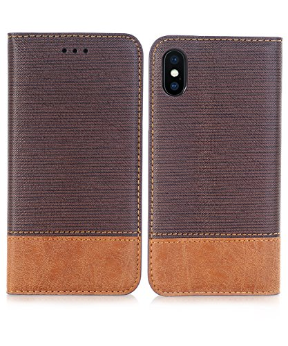 iPhone Xs Case,iPhone X Wallet Case,FLYEE Ultra Thin Slim Folio Cover PU Leather Magnetic Protective Cover with Credit Card Slots, Cash Pocket,Stand Holder for Apple iPhoneX Brown