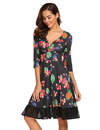 Zeela Damen Retro Vintage Kleid V Ausschnitt Knielang Wickelkleid ...