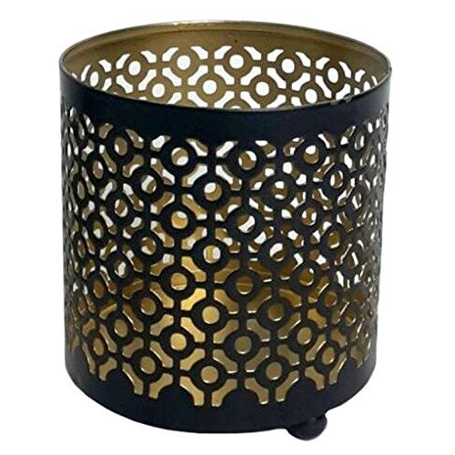 Hosleys 4.5 High Metal Black / Gold Finish, Jar Holder Candle Sleeve. Votive, Tea Light Lanterns . Use with Tealights. Ideal Gift for Weddings, Parties, Spa and Aromatherapy O9