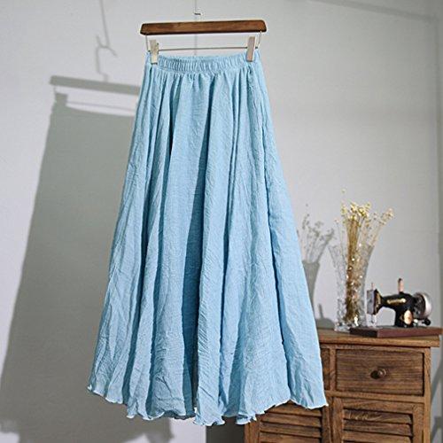 Elgant Longue Respirant Lin Double Littraire Jupe Femme Ciel Coton Suture Volants Couche Style Taille Double Jupe Elastique Bleu wR4UqB