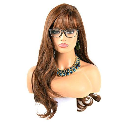 NIBOKA Sexy Long Women Wavy Brown Mixed Wigs Full Bangs for OL Office Ladies Wigs with Breathable Simulation Scalp