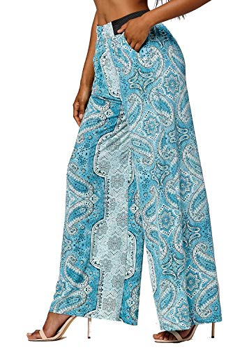 Conceited Women's High Waisted Wide Leg Printed Palazzo Pants with Pockets - Lagoon - One Size - LG237X178