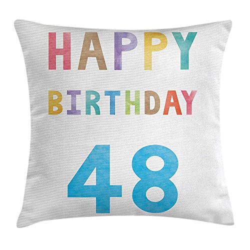DDBACK 48th Birthday Decorations Throw Pillow Cushion Cover, Simplistic Colorful New Age Celebration Number Paintbrush Image, Decorative Square Accent Pillow Case, 18 X 18 inches, Multicolor