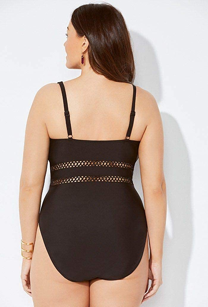 SWIMSUITSFORALL Swimsuits for All Womens Plus Size Lattice Plunge One Piece Swimsuit