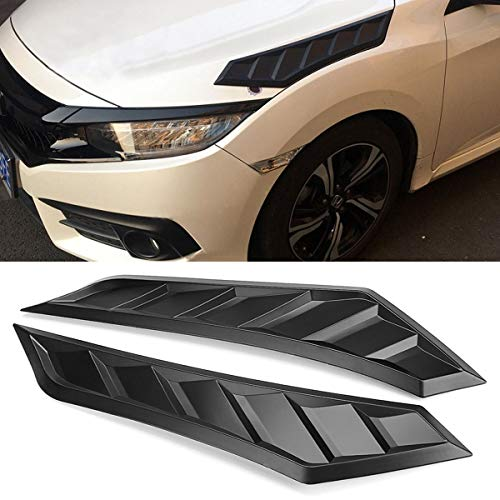 2x Car Front Hood Decorative Side Vent Louver Shades Cover Fits For Honda For Civic 2016-2018 All Model Except Type-R