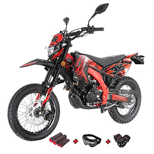 X-Pro 250cc Dirt Bike Pit Bike Gas Adult Dirt Bikes 250cc Deluxe DOT Street Legal Dirt Pit Bike Fully Assembled and Tested with Gloves, Goggle and Handgrip (Red) (Street Tires For Pit Bike)