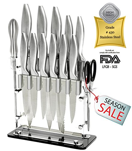 14 Pc Stainless Steel Cutlery kitchen Gadgets appliances Knife Block Set - 8