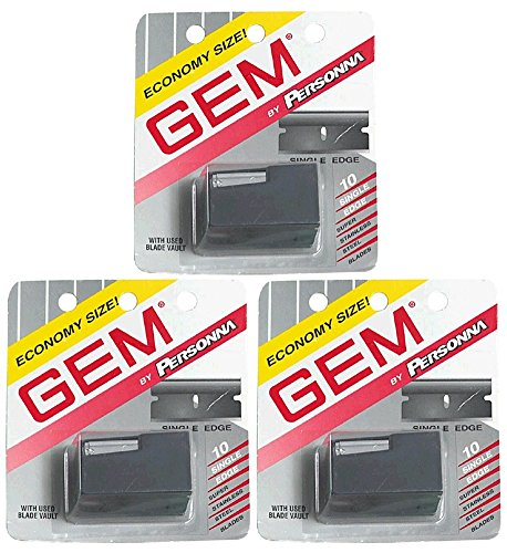- Gem Personna Single Edge Stainless Steel Blades with Used Blade Vault, 10-Count Packages (Pack of 3)