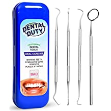 Dental Hygiene Kit For Home Use - Calculus & Plaque Remover Set - Stainless Steel Tarter Scraper, Dental Pick, Dental Scaler, Toothpick And Mouth Mirror -Deep Teeth Cleaning Tools to Maintain High Oral Care - Tools used by Dentist - Anti Bacterial Protective Case Included with All Orders