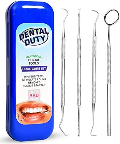 Professional Dental Hygiene Kit - Calculus & Plaque Remover Set - Stainless Steel Tools-Tarter Scraper, Tooth Pick, Dental Scaler And Mouth Mirror Instruments.Hygienist Kit- Home Use Tools For Adults
