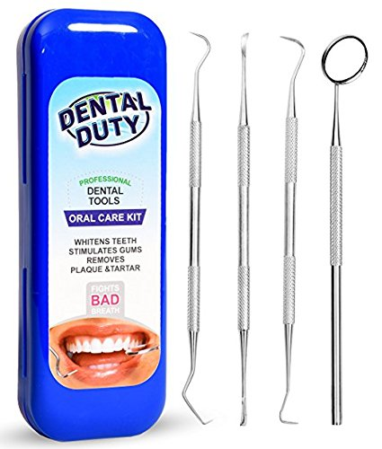Dental Duty  Hygiene Kit, Calculus and Plaque Remover Set, Stainless Steel Tarter Scraper, Tooth Pick, Dental Scaler and Mouth Mirror, Dentist Home Use Tools, Blue