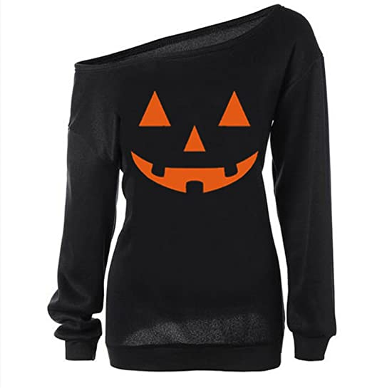 lymanchi Women Slouchy Shirts Halloween Pumpkin Long Sleeve Pullover  Sweatshirts Black M