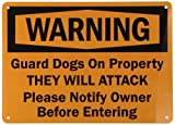 "SmartSign Aluminum Sign, Legend ""Warning: Guard Dogs on Property They will Attack"", 10"" high x 14"" wide, Black on Orange"