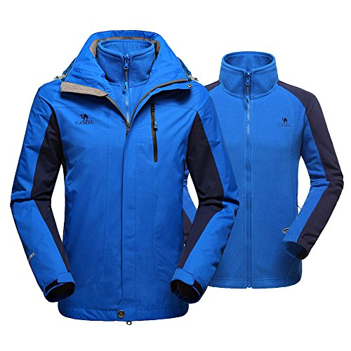 Camel Men's 3-in-1 Waterproof Jacket Windproof Winter Coat Mountain Ski Jacket(XXXL(US Size:XL/XXL)) (Bi Layer Jacket)