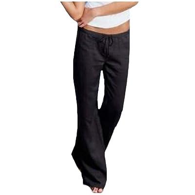 Abetteric Women Cargo Pocket Comfy Drawstring Pure Color Straight Pants