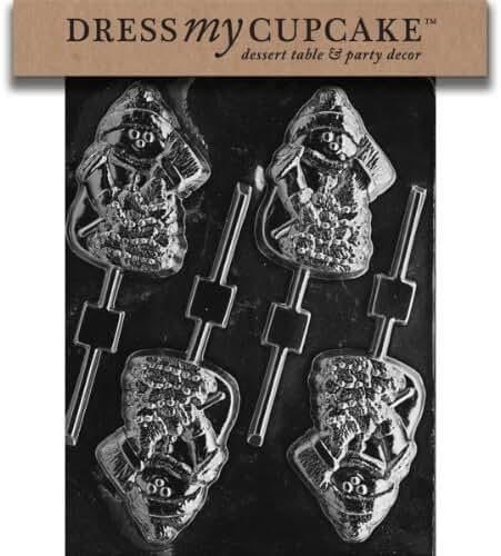 Dress My Cupcake DMCC138 Chocolate Candy Mold, Snowman with Tree Lollipop, Christmas by Dress My Cupcake