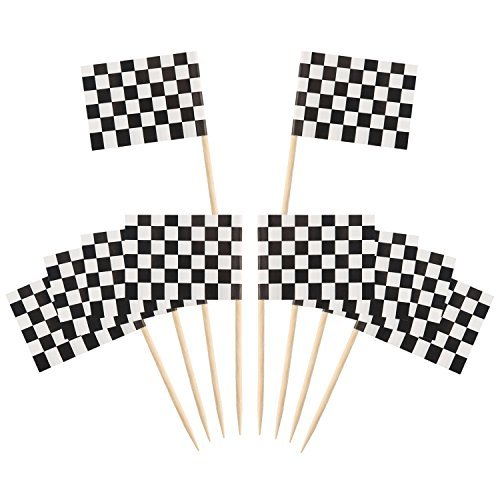 Pangda 100 Pack Checkered Racing Flag Party Cupcake Picks Toothpick Flag Dinner Flags Cake Toppers Decorations ()