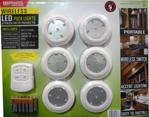 Lightmates led wireless puck lights with remote batteries 6 lightmates led wireless puck lights with remote batteries 6 pack under counter fixtures amazon mozeypictures Images