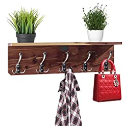"Entryway Cedar Wall Mounted Coat Rack with Shelf, Wall Hook Shelf, Entryway Hooks, Wooden 23"" Coat Hanger Shelf, Perfect for…"