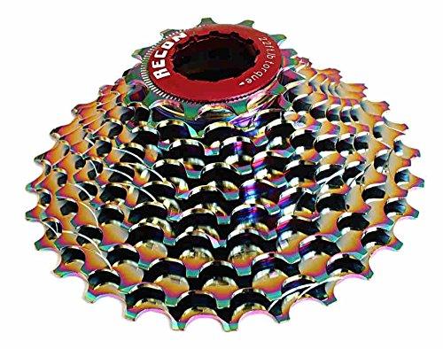 M-bikeparts Feathery Carbon 11-23 Ritzel Alu, 10 Fach für Sram, Shimano 10S Rainbow.
