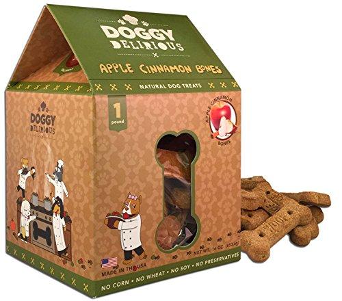 Doggy Delirious Dog Treats, Made in USA, 100% All Natural Organic Ingrediants, Apple Cinnamon, 16 oz Box (Treats Dog Apple Cinnamon)