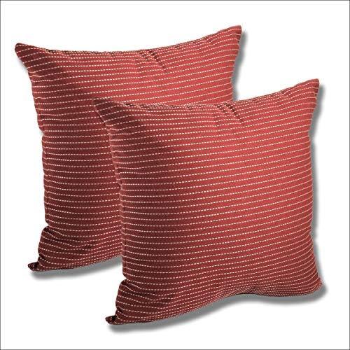 Comfort Classics Inc. Set of 2 Sunbrella Outdoor/Indoor Throw Pillow 15.5×15.5 Jazz Crimson