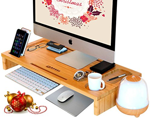 Computer Monitor Stand / Monitor Riser - Laptop Stand and Desk Organizer with Keyboard Storage and IPad Tablet Cellphone Slots - Stylish Bamboo Printer IMac LCD TV PC Riser - Royal Craft Wood