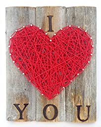 I love you string art heart sign - A unique gift for Father\'s Day, Weddings, 5 year Anniversaries, Birthdays and just because. Made on rustic re purposed wood.
