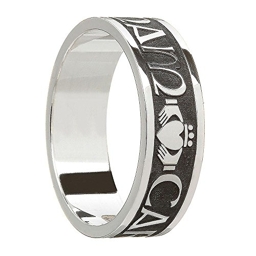Men's Oxidized Sterling Silver Mo Anam Cara Wedding Band Ring