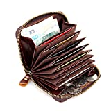 Handmade Slim Card Case Thin Soft Leather Accordion Style Genuine Leather Card Case Wallet with Zipper 8117 (Brown)