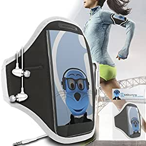 iTALKonline ZTE N721 negro regulable de agua y resistencia a la humedad Sports GYM Jogging asumir la cobertura de la caja del correo de la banda de brazo Llave de dinero Auriculares Pocket incluye auriculares 3,5 mm de aluminio y coche Mic On/Off