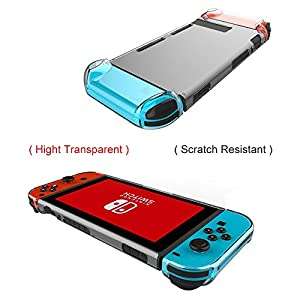 Kungber Anti-Scratch Hard Back Case Cover for Nintendo Switch Transparent Ergonomic Accessories Skin 2017(clear)