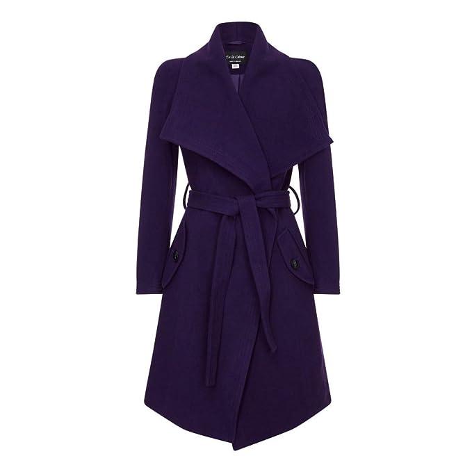 Mujer Morado La Manga Abrigo Para De Larga Crème 4YqR78w1