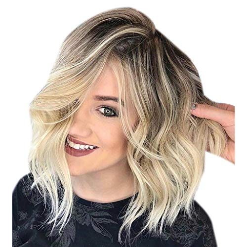Brazilian Virgin Human Hair Wigs Glueless Short Bob Wigs Wavy Cosplay Holiday Party Wigs,Best Gift Valentine's Day (B_Gold, 13.7 inches) -