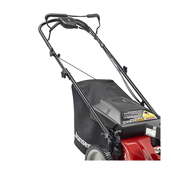 Jonsered L2821, 21 in. 160cc GCV160 Honda 3-in-1 Walk Behind Front-Wheel-Drive Mower 6 Powered by 160cc Honda GCV160 engine with 6.9 ft-lbs Gross torque Dual trigger control system allows you to operate with either hand, or split the effort between both. High-tunnel cutting deck design delivers premium cut quality and bagging performance while providing a close trim, every time.