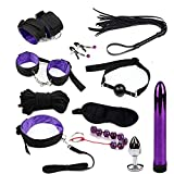 Vibrator Bullet with Bondage Set Sexy Toys Handcuff and Anal Plug Whip Rope Collar Anal Beads Set G spot Sex Products for Adults Black Purple 11pcs