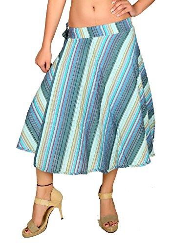 Sarjana Handicrafts Women's Cotton Wraparound Skirt Handblock Print Medium Blue