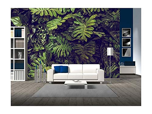 wall26 - Green Monstera Leaves Texture for Background - Top View - in Dark Tone. - Removable Wall Mural | Self-Adhesive Large Wallpaper - 100x144 inches by wall26 (Image #5)